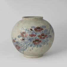 White Porcelain Jar with camellia Design in Underglaze Cobalt Blue and Copper 고 백자청화진사동백문호 by Ji Suntak