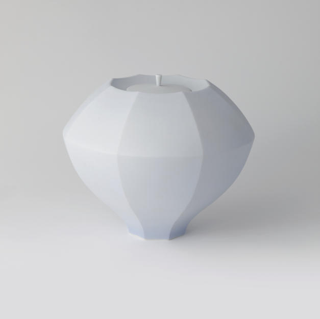 White Porcelain Faceted Lidded Jar 2 (BLUE 2) by Shin Dongbeom