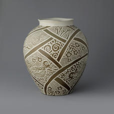 Large Buncheong Vase with Bird Design
