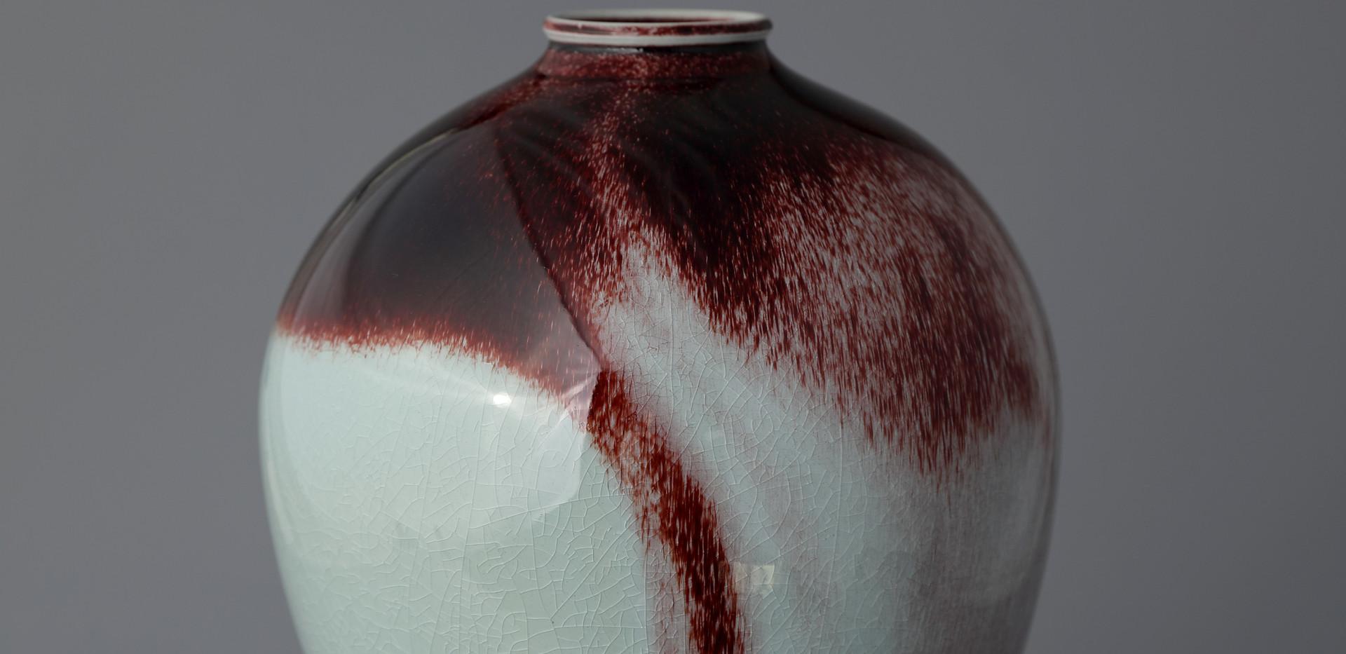 White Porcelain Long Vase in Underglaze Copper-Red, 2020