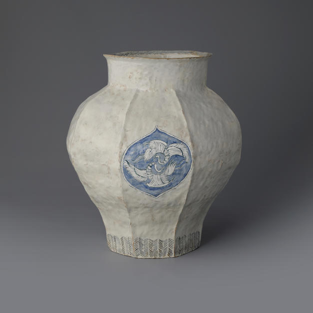 Buncheong Jar with Twin Cranes Decoration