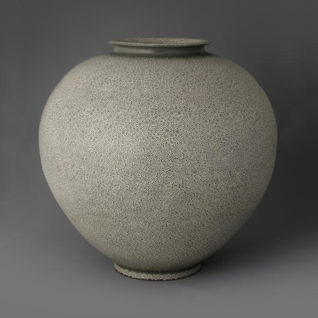 Buncheong Round Jar with Stamp Decoration