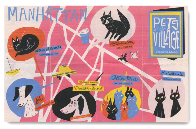 Pets of the Village, Veronica Mang, Cute, NYC Illustrator, illustrated map, cute illustrated map, illustrated map of nyc, cute map of nyc