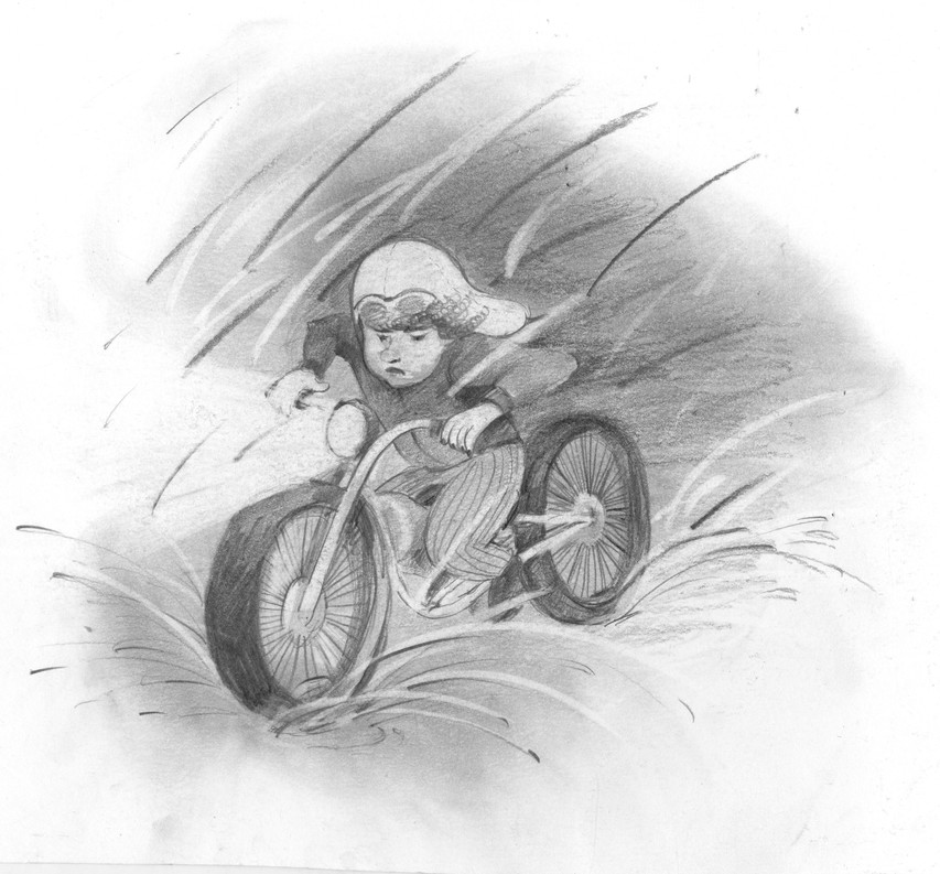 Character sketch of girl on a motorcycle