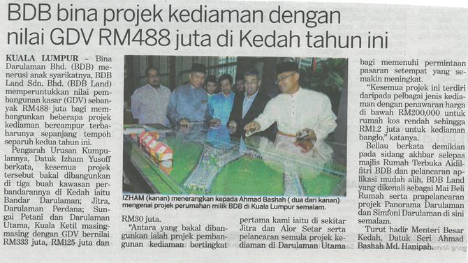 BDB Bina Projek Kediaman dengan Nilai GDV RM488 juta di Kedah Tahun Ini
