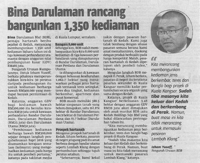 Bina Darulaman rancang bangunkan 1,350 kediaman