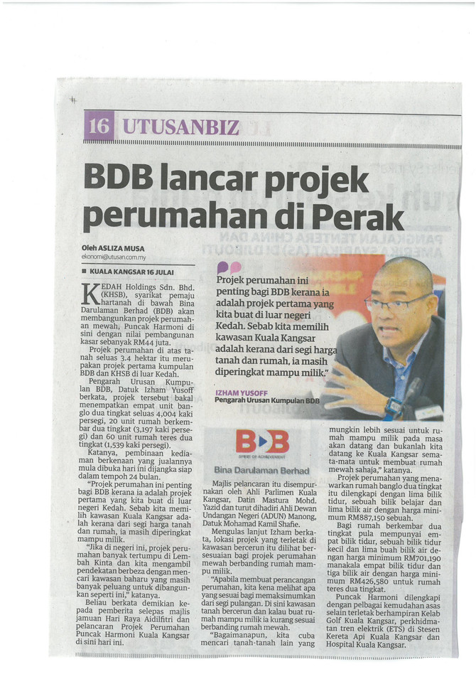 BDB lancar projek perumahan di Perak