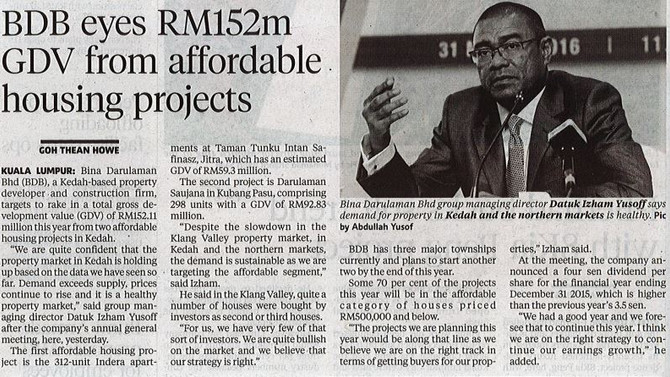 BDB Eyes RM152m GDV from Affordable Housing Projects
