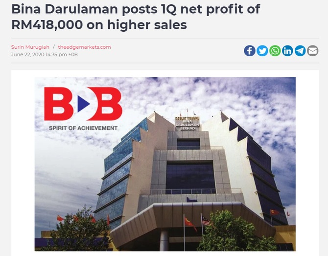 Bina Darulaman posts 1Q net profit of RM418,000 on higher sales
