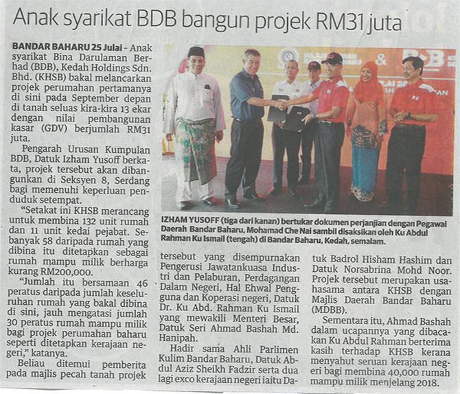 Anak Syarikat BDB Bangun Projek RM31 juta