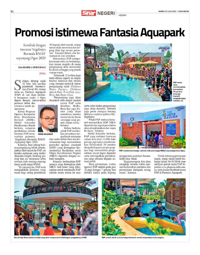 Promosi Istimewa Fantasia Aquapark SINAR HARIAN | 30 JULAI 2020