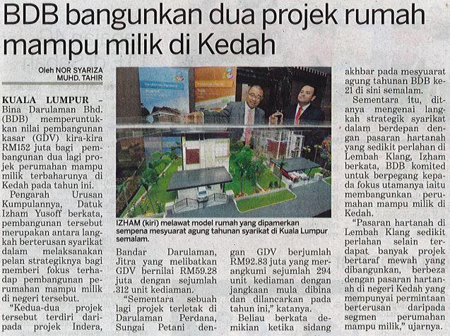 BDB Bangunkan dua projek perumahan mampu milik di kedah