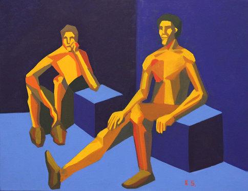 Two men in the corner