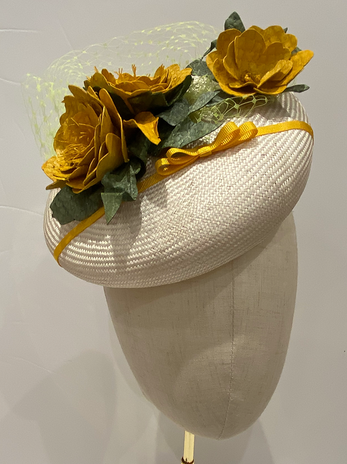 Alice. Yellow fish leather flowers and fine straw