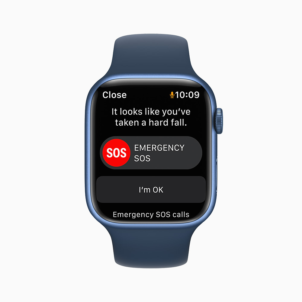 Fall detection on a blue Apple Watch Series 7. Cycling.