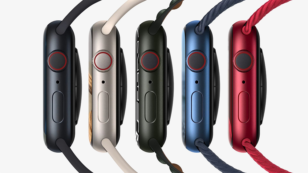 Apple Watch Series 7 Side View with colours
