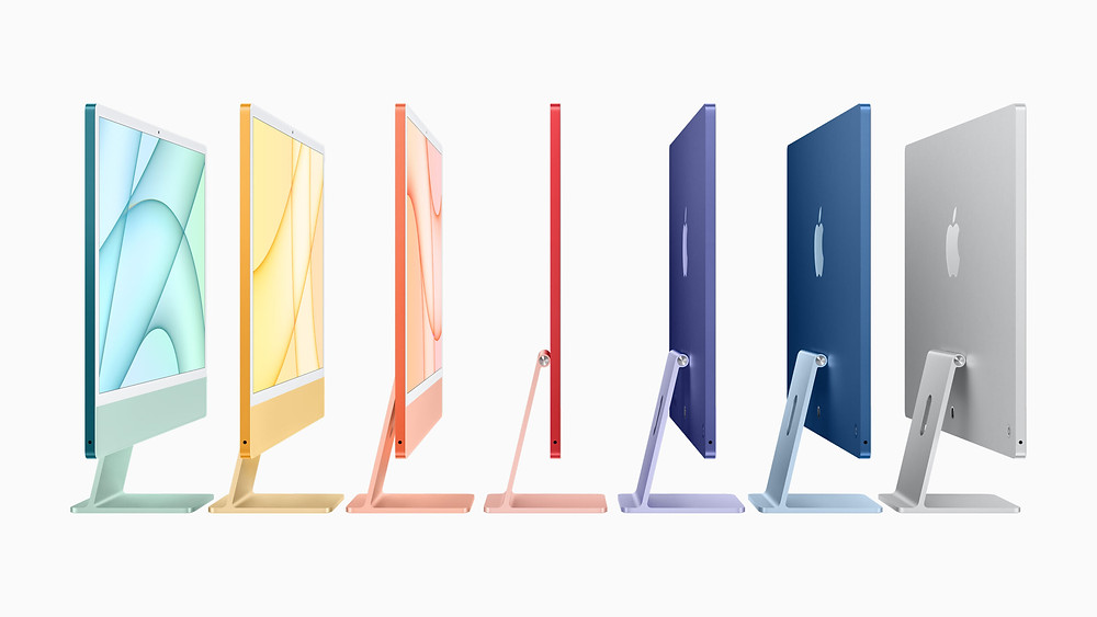 M1 iMac in the seven colours. Side View,