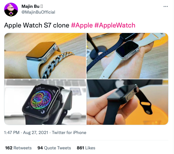 Leaked clone of Apple Watch Series 7