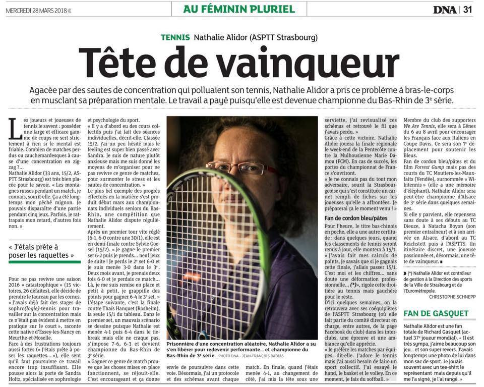 En préparation mentale, l'implication et la patience sont toujours récompensés :-) Un grand bravo à Nathalie ALIDOR, pour son parcours magnifique, et au journaliste Christophe SCHNEPP, pour sa très belle plume !
