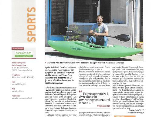 Article de presse : KAYAK - STÉPHANE PION Le kayakiste de l'extrême à la source de l'Amazone
