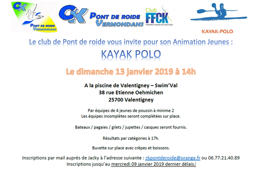 ANNULATION : Animation Jeunes : Kayak Polo