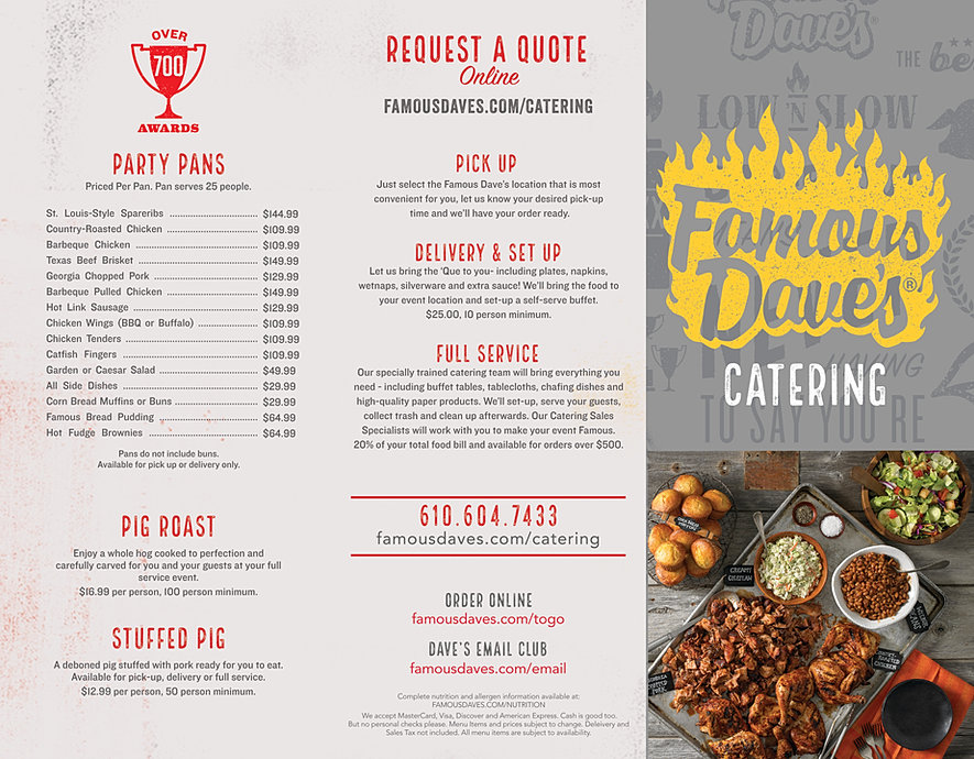 Famous Dave's BBQ Catering | The best BBQ in the Delaware ...
