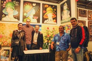 Ilija Šaula i slikar Ljubomir Ljuba Milinkov sa prijateljima, Artexpo New York, 2017.