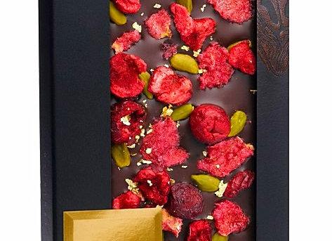 Горький шоколад со съедобным золотом, кусочками вишни, фисташками Бронте, лепест