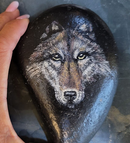 wolf face painted rock animal painted rock