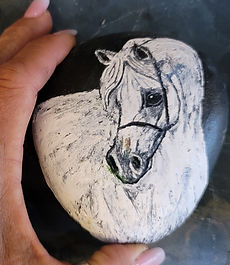 white horse face painted rock