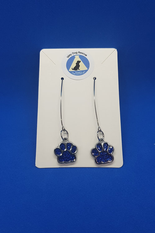 Drop, enamel, paw print earrings