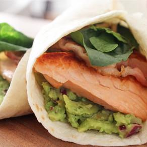 Wrap met zalm en guacamole