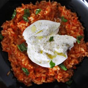 Gegrilde paprika risotto met burrata