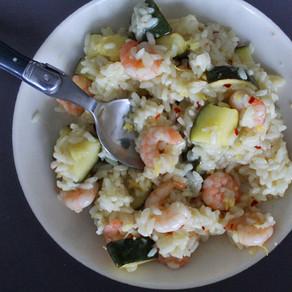 Citroen-risotto met garnalen en courgette