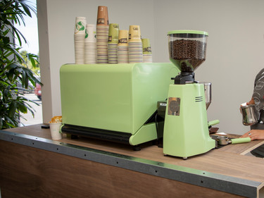 Retro green grinder and 2 group machine