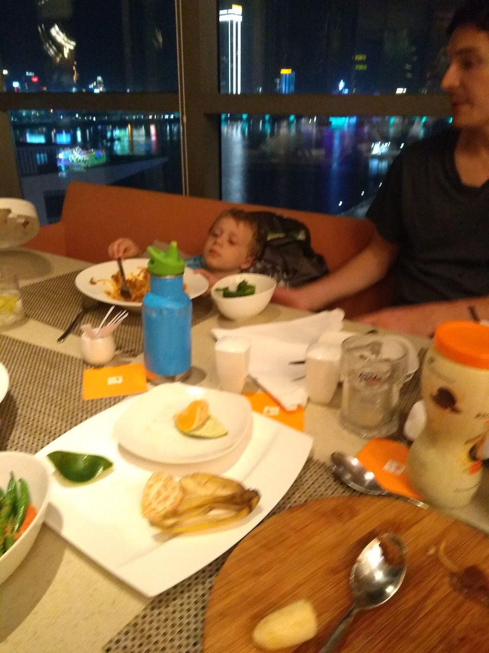 This meal was full of constant crying by all over-tired kids. All we could do was laugh at the absurdity of it.