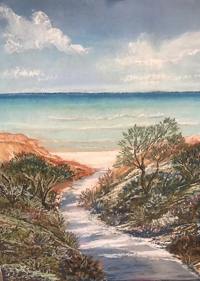Beach Path - Original Pastel - Christine Rasmussen