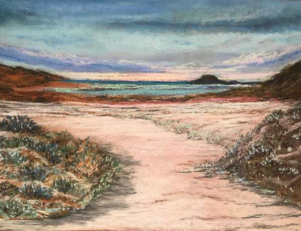 Sand Lands - Original Pastel Framed - Christine Rasmussen