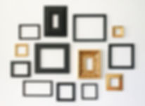 Multiple many blank small picture frames