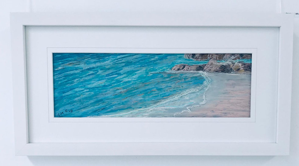 Doggy Beach - Original Pastel Framed - Christine Rasmussen