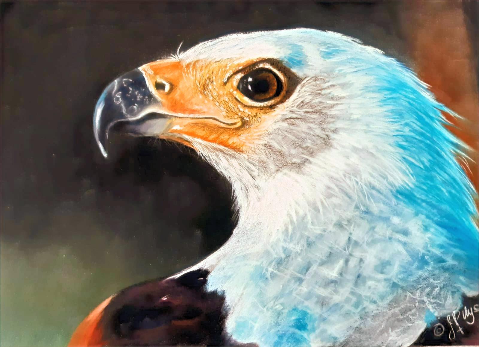 Crowned Eagle - Original Pastel