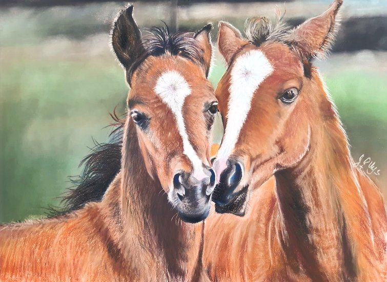 Siblings - Original Pastel - John Peter Uys