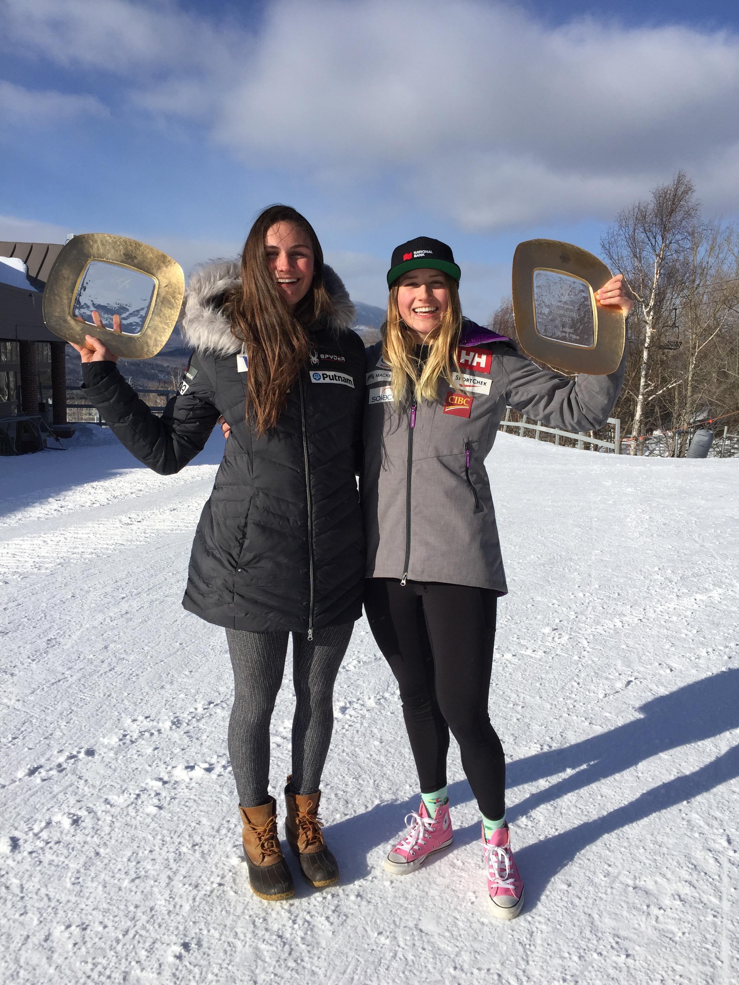 Posing alongside US ski team member
