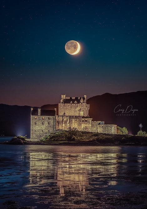 Eilean Donan Castle Scotland Dornie Duich Highlands Scotland Scottish Print Buy Sale Canvas Moon Moonscape Craig Doogan Water