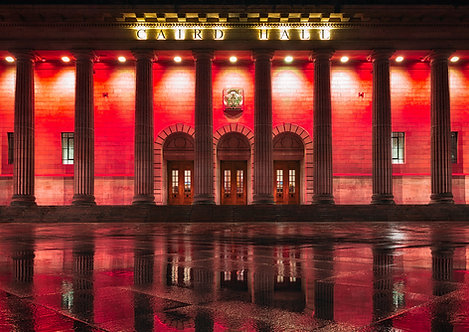 Caird Hall in Red
