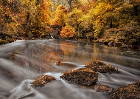 Hermitage Dunkeld Scotland Autumn Braan River Bridge Waterfall Scottish