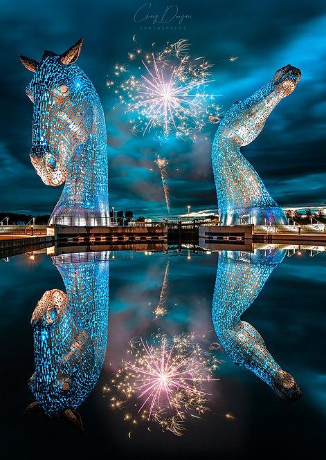Kelpie Kelpies Horse Horses Equine Scotland Scottish Falkirk Blue Fireworks Reflection Water