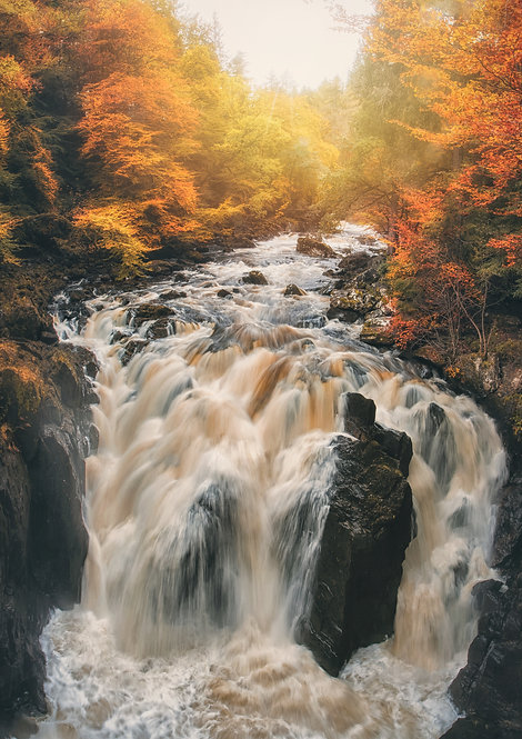 Black Linn Falls Waterfall Dunkeld Scotland Hermitage Braan River Scottish Print Photo Canvas Wall Art Sale Buy Purchase