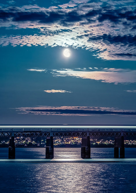 Moon over the Tay Rail Bridge
