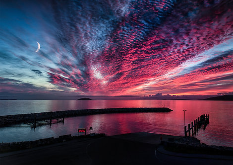 Eriskay Outer Hebrides Ferry Port Terminal Calmac Sunset Moon Moonscape Scotland Scottish Summer